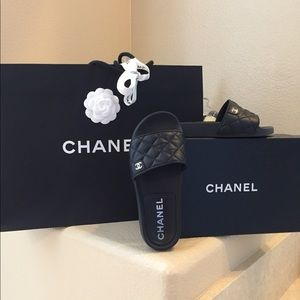 Chanel quilted lambskin slides